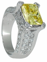 Brandy 4 Carat Emerald Radiant Cut Canary Cubic Zirconia Pave Engagement Ring