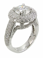 Brighton 2 Carat Round Cubic Zirconia Pave Halo Solitaire Engagement Ring