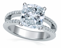 Britney 2.5 Carat Cushion Cut Cubic Zirconia Micro Pave Set Split Shank Solitaire Engagement Ring