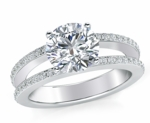 Britney 3 Carat Round Cubic Zirconia Micro Pave Split Shank Engagement Ring