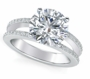 Britney 4 Carat Round Cubic Zirconia Micro Pave Split Shank Engagement Ring