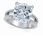 Britney Cushion Cut or Round  Micro Pave Split Shank Engagement Rings and Wedding Sets