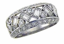 Buggles Bezel Set Round and Emerald Cut Baguettes Cubic Zirconia Pave Anniversary Band