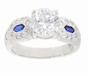 Bulletta 2 Carat Round Cubic Zirconia Man Made Simulated Sapphire Bullet Cut Solitaire Engagement Ring