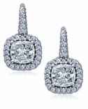 Calypso 1 Carat Each Cubic Zirconia Cushion Cut Pave Halo Twisted Rope Leverback Earrings