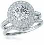 Camberley 2 Carat Round Cubic Zirconia Double Halo Bridal Wedding Set