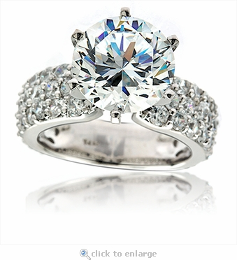 Camila 4 Carat Round Cubic Zirconia Pave Solitaire Engagement Ring in 14k white gold