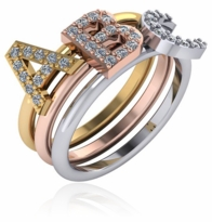 Capital Letter Initial Pave Cubic Zirconia Stackable Ring
