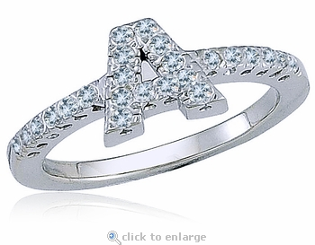 Capital Letter Initial Pave Set Cubic Zirconia Ring
