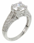 Capri 1.5 Carat Round Cubic Zirconia Cathedral Wedding Set with Contoured Band