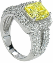 Carlena 2.5 Carat Emerald Cut Cubic Zirconia Pave Halo Split Shank Engagement Ring