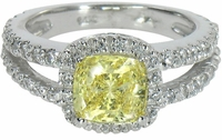 Carlton 1.5 Carat Cushion Cut Cubic Zirconia Pave Set Halo Split Shank Engagement Ring