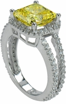 Carlton 4 Carat Princess Cut Cubic Zirconia Pave Set Halo Split Shank Engagement Ring
