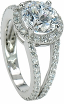 Carlton Cubic Zirconia Halo Split Shank Pave Set Round Engagement Ring Collection <br>Available in various shapes
