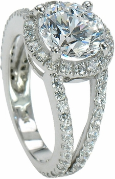 Carlton Cubic Zirconia Halo Split Shank Pave Set Round Engagement Ring Collection Available in various shapes