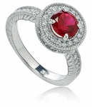 Carolina 1 Carat Round Cubic Zirconia Micro Pave Engraved Halo Antique Estate Style Ring
