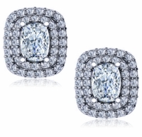 Carousel 1.5 Carat Each Cushion Emerald Double Halo Pave Cubic Zirconia Earrings