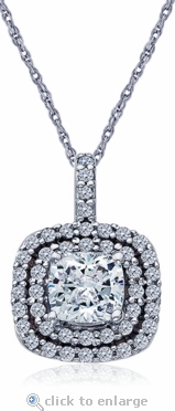 Carousel 1 Carat Cushion Cut Cubic Zirconia Double Halo Pendant