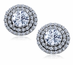 Carousel 1 Carat Each Round Double Halo Pave Cubic Zirconia Earrings