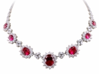 Casablanca Oval Cluster Halo Estate Statement Necklace