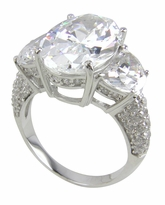 Casoria 5.5 Carat Oval Cubic Zirconia Half Moon Pave Set Engagement Ring