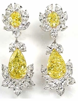 Cassia 7 Carat Pear Canary Cubic Zirconia Marquise Oval Cluster Drop Earrings