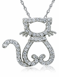 Cat's Meow Pave Set Round Cubic Zirconia Kitty Pendant