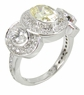 Cavalier Oval 1 Carat Center Three Stone Cubic Zirconia Pave Halo Solitaire Engagement Ring - Large