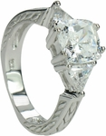 Cecilia 1.5 Carat Cushion Cut With Triangle Trillions Cubic Zirconia Estate Style Engraved Three Stone Ring