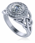 Celtic Love Knot 1 Carat Round Bezel Halo Cubic Zirconia Ring