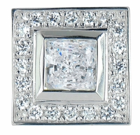 Centex Princess Cut Square Cubic Zirconia Bezel Set Halo Lapel Pin