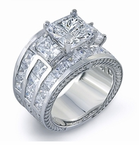 Champlain 4 Carat Princess Cut Three Row Channel Set Engraved Wide Band