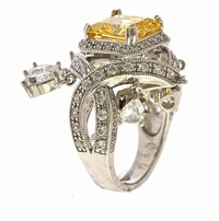 Changrillah 5.5 Carat Princess Cut lab Created Canary Cubic Zirconia Pave Engagement Ring