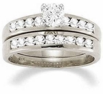 Channel Set Round 1 Carat Cubic Zirconia Bridal Set with Matching Band