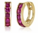 Channel Set Round Man Made Ruby Red Mini Huggie Hoop Earrings