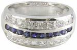 Channel Set Round Simulated Man Made Sapphire Princess Cut Cubic Zirconia Band