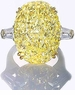 Chateau 15 Carat Oval Canary Cubic Zirconia Baguette Double Prong Set Solitaire