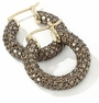Chocolate Lab Created Diamond Cognac Cubic Zirconia Pave Hoop Earrings