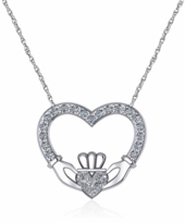 Claddaugh Open Heart Pave Cubic Zirconia Pave Necklace
