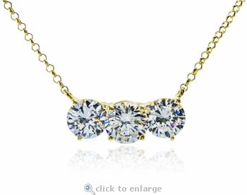Classic 1 Carat Each Cubic Zirconia Three Stone Round Horizontal Anniversary Necklace