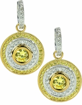 Cleopatra Canary Cubic Zirconia 1 Carat Round Two Tone Double Halo Drop Earrings