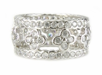 Clover Bezel Set Round Cubic Zirconia Eternity Band