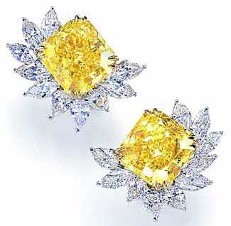 Collina 7 Carat Princess Cut Canary Cubic Zirconia Pear Marquise Cluster Earrings