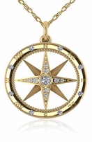 Compass Rose Nautical Bezel Prong and Burnish Set Cubic Zirconia Pendant