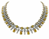 Concorde Vintage Round Pear Marquise Emerald Cut Drop Statement Necklace
