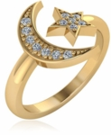 Cosmos Crescent Moon and Star Pave Set Cubic Zirconia Ring