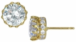 Crown 1.5 Carat Round Cubic Zirconia Pave Earring Studs