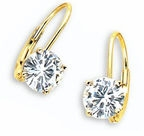 Cubic Zirconia Leverback Earrings, Euro Wire Earrings