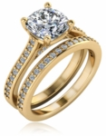 Cullan 1.5 Carat Cushion Cut Cathedral Pave Bridal Wedding Set