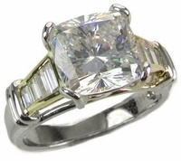 Cushion Cut 4 Carat Cubic Zirconia Channel Baguette Two Tone Solitaire Engagement Ring
